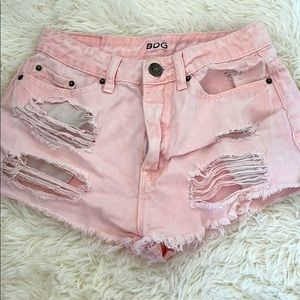 BDG Pink Ripped Short Shorts